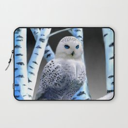 Blue-eyed Snow Owl Laptop Sleeve