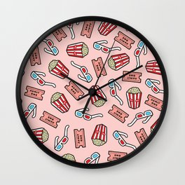 Movie Pattern in Pastel Pink Wall Clock