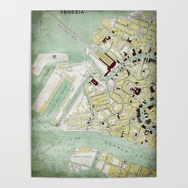 Vintage Venice historic map Italy retro travel design Poster