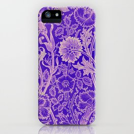 Colorful blue Flowers Wallpaper design pattern iPhone Case