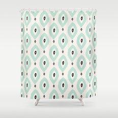 Bohemian Ikat - Dark gray, light blue and cream pattern Shower Curtain
