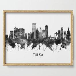 Tulsa Oklahoma Skyline BW Serving Tray