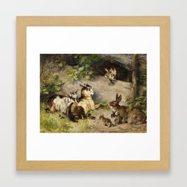 Julius Adam (1842–1913) goats and rabbits Framed Art Print
