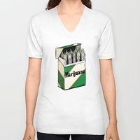 marijuana V-neck T-shirts featuring Mainstream Marijuana by Kelsey Dake