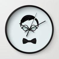 nerd Wall Clocks featuring Nerd by Mathieu Duparcq