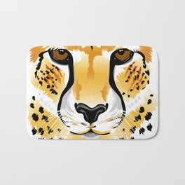 cheetah head close-up illustration Bath Mat