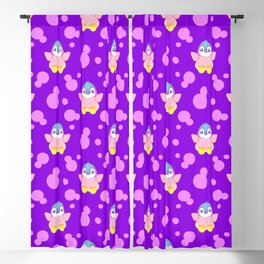 Cute happy little baby penguins flapping wings, bold pink retro dots pretty purple girly pattern Blackout Curtain