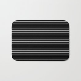 Thin White Lines - Blakc and white stripes Bath Mat