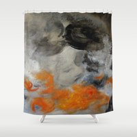 imagerybydianna Shower Curtains featuring empty hurricane fires by Imagery by dianna