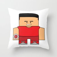 power rangers Throw Pillows featuring Mighty Morphin Power Rangers - Jason (The Original Red Ranger) by Choo Koon Designs