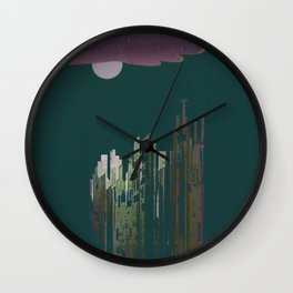 Pink Cloud over the April Super Moon in a City with Green Background Wall Clock