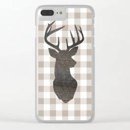 Rustic Farmhouse Decor, Plaid, Gingham, Deer Stag, Beige, Brown Clear iPhone Case