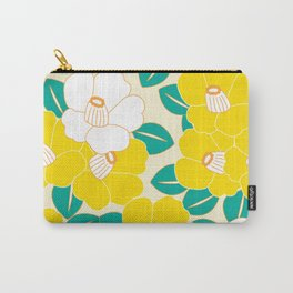 Japanese Style Camellia - Yellow and White Carry-All Pouch