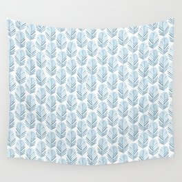 Feathers in blue Wall Tapestry