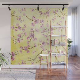 Sakura - Cherryblossoms on yellow Wall Mural