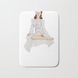 Nostalgic Pin Up Girls Brunette Blue Wrap Dress Bachelor Party Pinup Girl Bath Mat