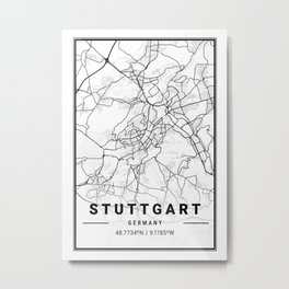 Stuttgart Light City Map Metal Print