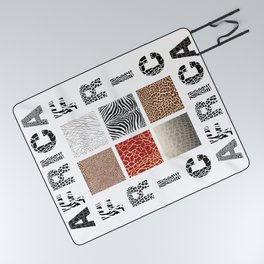 Africa - background with text and texture wild animal Picnic Blanket