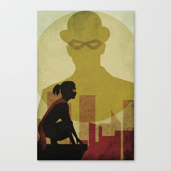 Who is the man in the bowler? Superheroes SF Canvas Print