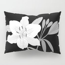 Monochrome Lilies Illustrative Art Pillow Sham