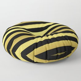 Black and Gold Jumbo Beach House Stripes Floor Pillow