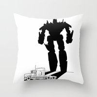 optimus prime Throw Pillows featuring Optimus Prime by offbeatzombie