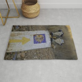 Camino Route Marker and Old Boots Rug