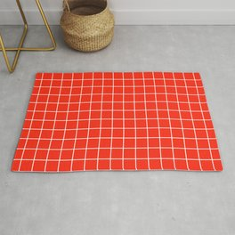Red (RYB) - red color -  White Lines Grid Pattern Rug