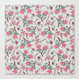 Pink flowers vector pattern, seamless vector pattern white background Canvas Print