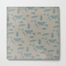 Insectology:  Insect Scatter Botanical Stencil Print Metal Print