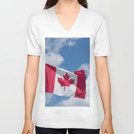 Sun, Clouds and Canadian Flag Unisex V-Neck