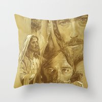 jesus Throw Pillows featuring Jesus by Bryan Dechter