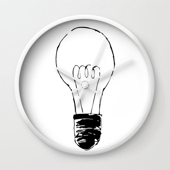 Lightbulb Sketch Wall Clock By Stopthepresses