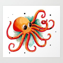 Olly the Octopus Art Print