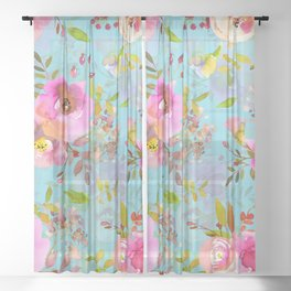 Pink Watercolor Spring Florals On Turquoise Sheer Curtain