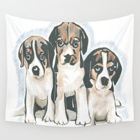 puppies Wall Tapestries featuring Puppies 1 by JennFolds5 * Jennifer Delamar-Goss