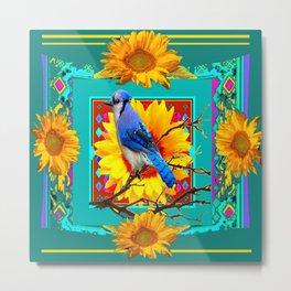 Decorative Ornate Turquoise-Blue Jay Sunflowers Metal Print