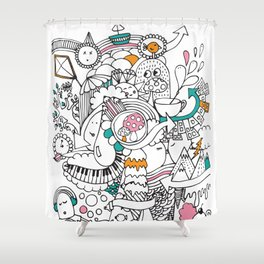 My Happy Doodle Shower Curtain