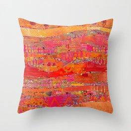 Firewalk Abstract Art Collage Throw Pillow