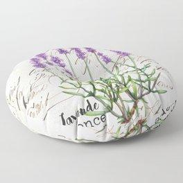 Lavender Antique Rustic Flowers Vintage Art Floor Pillow