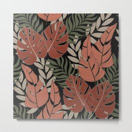 Fashionable seamless tropical pattern with bright plants and leaves on a dark background. Seamless exotic pattern with tropical plants. Exotic tropics. Summer.Printing and textiles. Metal Print