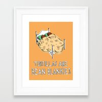 blankets Framed Art Prints featuring Bean Blankets by Molly Adair