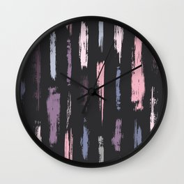 Vertical Dash Brushstrokes Pattern Modern Wall Clock