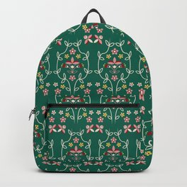 Fall Winter Floral Pattern Ultramarine Green BG Backpack