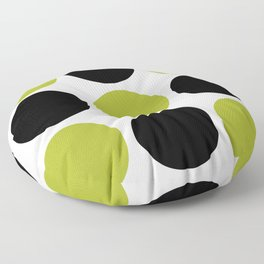 Mid Century Modern Polka Dot Pattern 9 Black and Chartreuse Floor Pillow