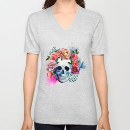 Flower Skull Unisex V-Neck