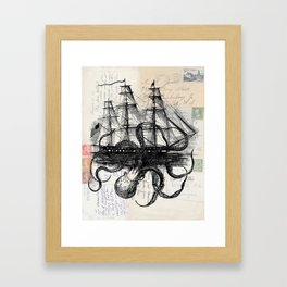 Octopus Kraken Attacking Ship on Old Postcards Framed Art Print