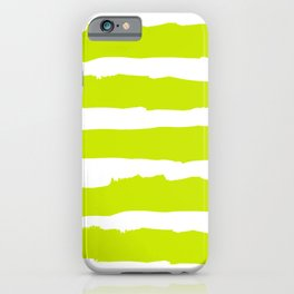 White and chartreuse Stripes iPhone Case
