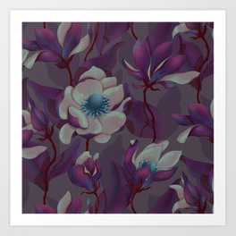 magnolia bloom - nighttime version Art Print