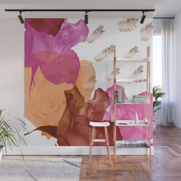 Vibrant Floating Rose Petals & Gold Leaves Wall Mural